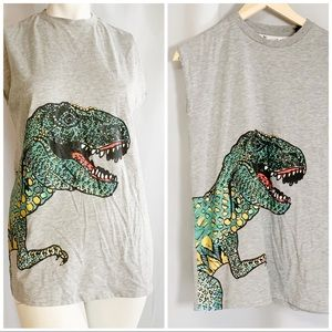 Topshop dinosaur gray green graphic muscle tee 4